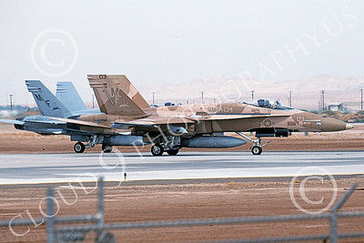 F-18USMC 00093 A taxing brown McDonnell Douglas F-18 Hornet USMC 162407 VMFA-134 SMOKE NAF El Centro 4-2002 military airplane picture by Michael Grove, Sr