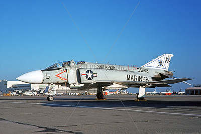 F-4II-USMC-VMFA-212 0002 A static McDonnell Douglas F-4J Phantom II USMC jet fighter, 155893, VMFA-212 LANCERS WD tail code NAS North Island 1-1975, military airplane picture by Michael Grove, Sr    Dt copy