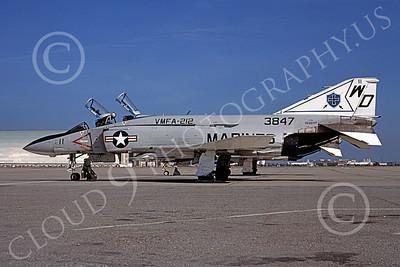 F-4USMC 00331 A static McDonnell Douglas F-4J Phantom II USMC 153847 VMFA-212 LANCERS WD NAS Moffett Nov1976 military airplane picture by Michael Grove, Sr