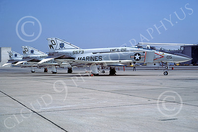 F-4USMC 00115 McDonnell Douglas F-4 Phantom II USMC 155573 VMFA-212 LANCERS WD NAS Miramar April 1977 military airplane picture by Robert L Lawson