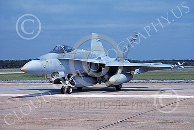 F-18USMC 00141 A static McDonnell Douglas F-18 Hornet USMC VMFA-232 RED DEVILS MCAS Beaufort 4-1991 military airplane picture by David F Brown