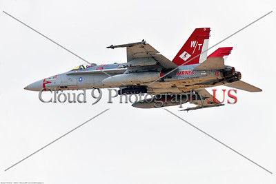 F-18USMC-VMF-232-CO 002 A flying Boeing F-18C Hornet USMC jet fighter 165195 VMFA-232 RED DEVILS commanding officer's airplane, at Nellis AFB during 3-2020 Red Flag exercise, military airplane picture by Peter J  Mancus     852_9334     DONEwt
