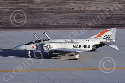 F-4USMC 00193 A taxing McDonnell Douglas F-4J Phantom II USMC 155833 VMFA-251 THUNDERBOLTS DW MCAS Yuma May 1984 military airplane picture by Peter J Mancus