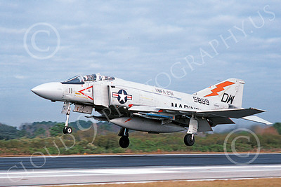F-4USMC 00333 A landing McDonnell Douglas F-4J Phantom II USMC 155899 VMFA-251 THUNDERBOLTS DW MCAS Beaufort Jan 1981 military airplane picture by Michael Grove, Sr