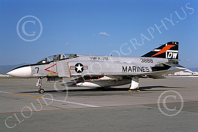 F-4USMC 00173 A static McDonnell Douglas F-4J Phantom II USMC 155823 VMFA-251 THUNDERBOLTS DW NAS Moffett Sept 1975 military airplane picture by Michael Grove, Sr
