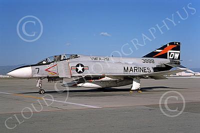 F-4USMC 00173 A static McDonnell Douglas F-4J Phantom II USMC 155823 VMFA-251 THUNDERBOLTS DW NAS Moffett Sept 1975 military airplane picture by Michael Grove, Sr