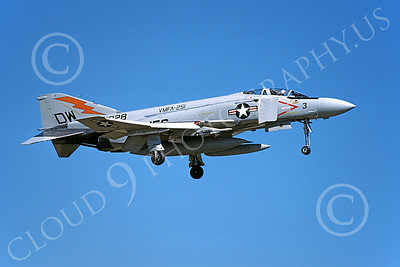 F-4USMC 00148 A landing McDonnell Douglas F-4J Phantom II USMC 153828 VMFA-251 THUNDERBOLTS DW Nov 1979 military airplane picture by Michael Grove, Sr