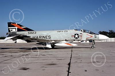 F-4USMC 00217 A static McDonnell Douglas F-4J Phantom II USMC 155823 VMFA-251 THUNDERBOLTS DW NAS North Island Oct 1975 military airplane picture by Michael Grove, Sr