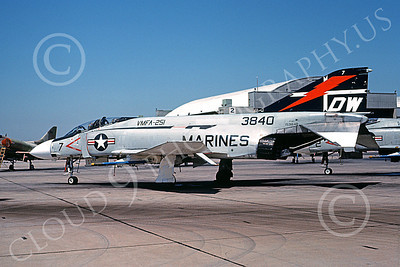 F-4USMC 00277 A static McDonnell Douglas F-4J Phantom II USMC 153840 VMFA-251 THUNDERBOLTS DW NAS Miramar June 1976 military airplane picture by Michael Grove, Sr
