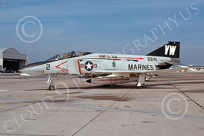 F-4USMC 00237 A static McDonnell Douglas F-4 Phantom II USMC 152241 VMFA-314 BLACK KNIGHTS VM NAS Miramar 10-1978 military airplane picture by Michael Grove, Sr