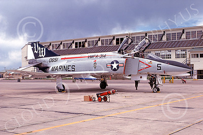 F-4USMC 00137 A static McDonnell Douglas F-4N Phantom II USMC 150651 VMFA-314 BLACK KNIGHTS VM MCAS El Toro June 1975 military airplane picture by Michael Grove, Sr