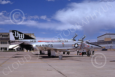 F-4USMC 00323 A static McDonnell Douglas F-4N Phantom II USMC 151431 VMFA-314 BLACK KNIGHTS VM 7 June 1975 military airplane picture by Michael Grove, Sr