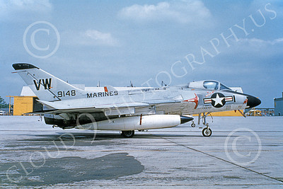 F4D-1USMC 00001 A static Douglas F4D-1 Skyray USMC 139148 VMFA-314 BLACK KNIGHTS VW CODE 4-1980 military airplane picture by Clay Jansson