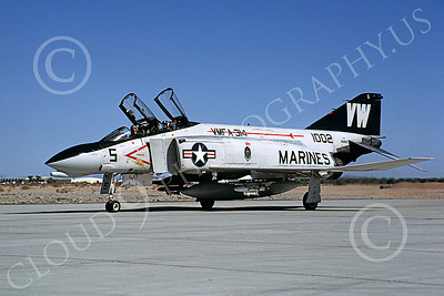 F-4USMC 00145 A taxing McDonnell Douglas F-4N Phantom II USMC 151002 VMFA-314 BLACK KNIGHTS VM MCAS Yuma 3-1982 military airplane picture by Michael Grove, Sr