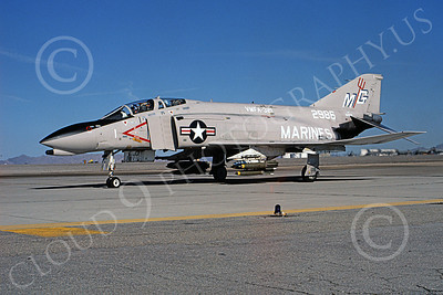 F-4USMC 00197 McDonnell Douglas F-4 Phantom II USMC 2986 VMFA-321 HELL'S ANGELS MG with bombs NAAS Fallon March 1980 military airplane picture by Robert L Lawson