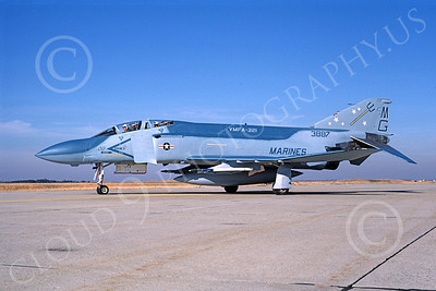 F-4USMC 00225 McDonnell Douglas F-4 Phantom II USMC 153887 VMFA-321 HELL'S ANGELS MG NAS Lemoore Dec 1986 military airplane picture by Michael Grove, Sr