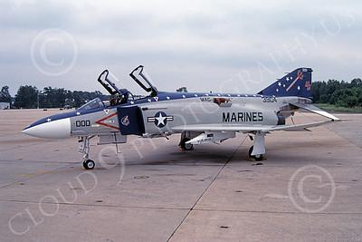 F-4USMC 00201 McDonnell Douglas F-4 Phantom II USMC 153904 VMFA-321 HELL'S ANGELS MG Andrews AFB 18 May 1991 military airplane picture by John Hale