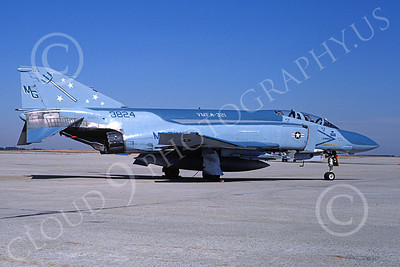 F-4USMC 00249 McDonnell Douglas F-4 Phantom II USMC 153824 VMFA-321 HELL'S ANGELS MG 7 March 1987 military airplane picture by Barry Roop
