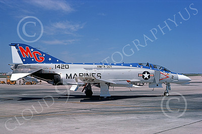 F-4USMC 00243 McDonnell Douglas F-4 Phantom II USMC 151420 VMFA-321 HELL'S ANGELS MG Andrews AFB April1976 military airplane picture by Frank MacSorley