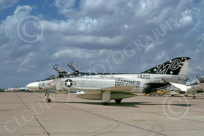 F-4USMC 00221 McDonnell Douglas F-4 Phantom II USMC 151420 VMFA-321 HELL'S ANGELS MG Andrews AFB 1 Sept 1994 military airplane picture by Don Logan
