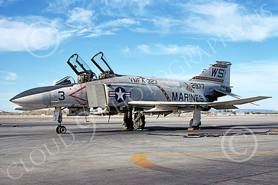 F-4USMC 00541 A static McDonnell Douglas F-4J USMC 2977 VMFA-323 DEATH RATTLERS MCAS Yuma 7-1976 military airplane picture by Michael Grove, Sr