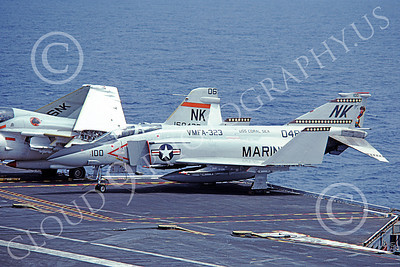 F-4USMC 00154 A static McDonnell Douglas F-4J USMC 048 VMFA-323 DEATH RATTLERS on USS Coral Sea commander's airplane 8-1979 military airplane picture by Pete Clayton