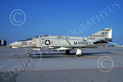 F-4USMC 00293 A static McDonnell Douglas F-4B Phantom II USMC 150423 VMFA-323 DEATH RATTLERS commanding officer's plane WS code NAS Moffett 7-1973 military airplane picture by Michael Grove, Sr
