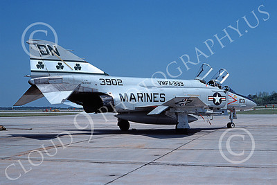 F-4USMC 00999 A static McDonnell Douglas F-4S Phantom II USMC 153902 VMFA-333 SHAMROCKS DN code MCAS Beaufort 6-1979 military airplane picture by Michael Grove, Sr