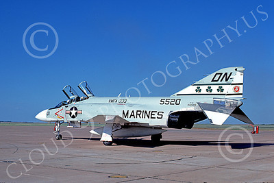 F-4USMC 00255 A taxing McDonnell Douglas F-4J Phantom II USMC 15520 VMFA-333 SHAMROCKS DN 15 Aug 1974 military airplane picture by Don Logan