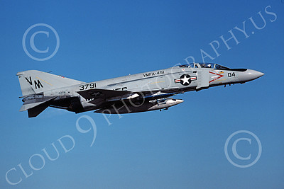 F-4USMC 00230 A flying McDonnell Douglas F-4 Phantom II USMC 153791 VMFA-451 WARLORDS VM 9-1978 military airplane picture by Michael Grove, Sr