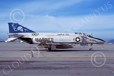 F-4USMC 00581 A static McDonnell Douglas F-4N USMC 151007 VMFA-531 GREY GHOSTS EC code NAS Alameda 2-1979 military airplane picture by Michael Grove, Sr