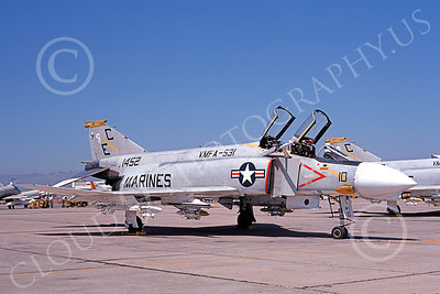 F-4USMC 00305 McDonnell Douglas F-4B Phantom II USMC 1452 VMFA-531 GREY GHOSTS EC NAS Alameda 6-1974 military airplane picture by Michael Grove, Sr
