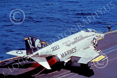 F-4USMC 00198 A McDonnell Douglas F-4N USMC 153023 VMFA-531 GREY GHOSTS in afterburner on USS Coral Sea with rare stripes on wings official US Navy photograph produced by Cloud 9 Photography
