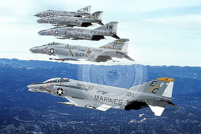 F-4USMC 00362 USMC McDonnell Douglas F-4 Phantom II 151101 VMFA-531 GREY GHOSTS in formation with three other USMC F-4IIs Official USMC Photograph produced by Cloud 9 Photography