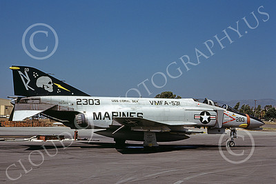F-4USMC 00549 A static McDonnell Douglas F-4N USMC 2303 VMFA-531 GREY GHOSTS NK code USS Coral Sea MCAS El Toro 9-1979 military airplane picture by Michael Grove, Sr