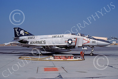 F-4USMC 00557 A static McDonnell Douglas F-4N USMC 152323 VMFA-531 GREY GHOSTS commander's airplane EC code MCAS El Toro 11-1980 military airplane picture by Michael Grove, Sr