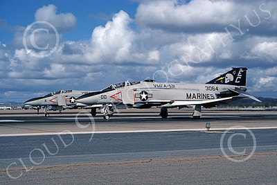 F-4USMC 00529 A McDonnell Douglas F-4N USMC 153064 VMFA-531 GREY GHOSTS MCAS EC code on the runway El Toro 1-1991 military airplane picture by Robert L Lawson