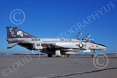F-4USMC 00575 A static McDonnell Douglas F-4N USMC 153064 VMFA-531 GREY GHOSTS commander's airplane EC code NAS Alameda 10-1982 military airplane picture by Tom Chee