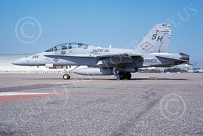 F-18USMC 00089 A static McDonnell Douglas F-18D Hornet USMC 164051 VMFAT-101 SHARPSHOOTERS NAS Moffett 9-2001 military airplane picture by Tom Chee
