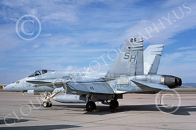 F-18USMC 00043 A static McDonnell Douglas F-18 Hornet USMC VMFAT-101 SHARPSHOOTERS MCAS Yuma 5-1989 military airplane picture by Michael Grove, Sr