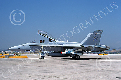 F-18USMC 00121  A static McDonnell Douglas F-18D Hornet USMC 164001 VMFAT-101 SHARPSHOOTERS MCAS Yuma 8-1990 military airplane picture by Michael Grove, Sr