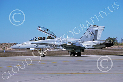 F-18USMC 00019 A taxing McDonnell Douglas F-18D Hornet USMC 164028 VMFAT-101 SHARPSHOOTERS MCAS Yuma 1-1995 military airplane picture by Norris Graser