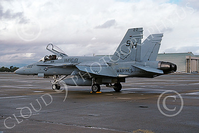 F-18USMC 00077 A static McDonnell Douglas F-18 Hornet USMC 163152 VMFAT-101 SHARPSHOOTERS NAS Moffett 2-2001 military airplane picture by Tom Chee
