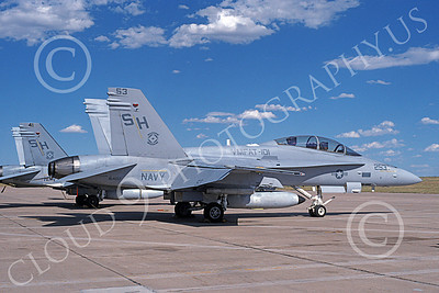F-18USMC 00045 A static McDonnell Douglas F-18D Hornet USMC 164017 VMFAT-101 SHARPSHOOTERS 6-1994 military airplane picture by Michael Grove, Sr