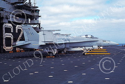 F-18USMC 00039 A static McDonnell Douglas F-18A Hornet USMC 163717 VMFAT-101 SHARPSHOOTERS on USS Independence 8-1989 military airplane picture by Rick Morgan