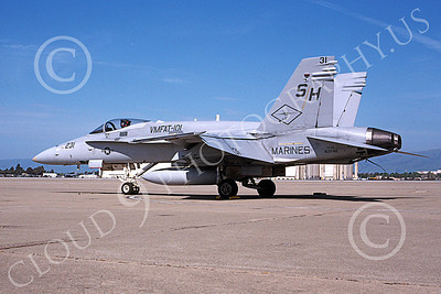 F-18USMC 00069 A static McDonnell Douglas F-18 Hornet USMC VMFAT-101 SHARPSHOOTERS NAS Moffett 3-2000 military airplane picture by Tom Chee