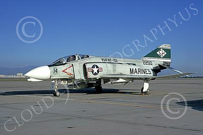 F-4USMC 00203 A static McDonnell Douglas F-4J Phantom II USMC 152250 VMFAT-101 SH SHARPSHOOTERS NAS Moffett 3-1974 military airplane picture by Michael Grove, Sr