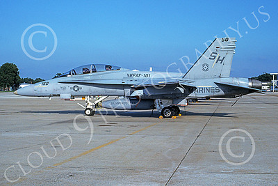 F-18USMC 00012 A static McDonnell Douglas F-18D Hornet USMC VMFAT-101 SHARPSHOOTERS NAF Washington 10-1991 military airplane picture by Bill Garman