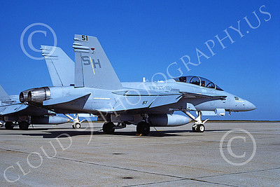 F-18USMC 00103  A static McDonnell Douglas F-18D Hornet USMC 164019 VMFAT-101 SHARPSHOOTERS 9-1990 military airplane picture by Michael Grove, Sr