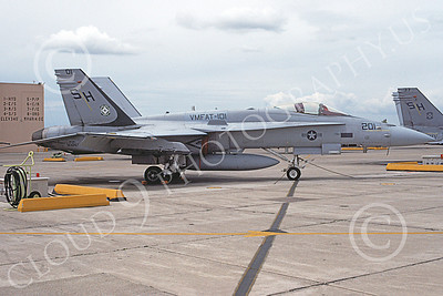 F-18USMC 00105  A static McDonnell Douglas F-18C Hornet USMC VMFAT-101 SHARPSHOOTERS 4-1993 military airplane picture by Michael Grove, Sr